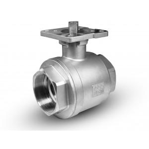 Edelstahlkugelhahn 2 1/2 Zoll DN65 PN40 Montageplatte ISO5211