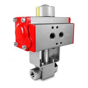 Hochdruckkugelhahn 1/4 Zoll SS304 HB22 mit pneumatischem Antrieb AT40