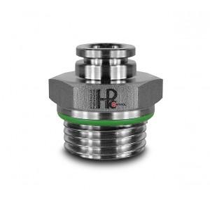 Stecknippel gerader Edelstahlschlauch 8mm Gewinde 1/2 Zoll PCS08-G04