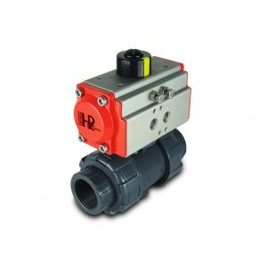 Kugelhahn UPVC 1 1/2 Zoll DN40 mit pneumatischem Antrieb AT52