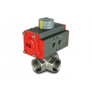 3-Wege Messing Kugelhahn 3/4 Zoll DN20 mit pneumatischem Antrieb AT32