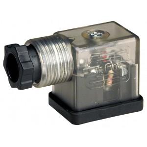 Stecker zum Magnetventil DIN 43650B mit LED - klein