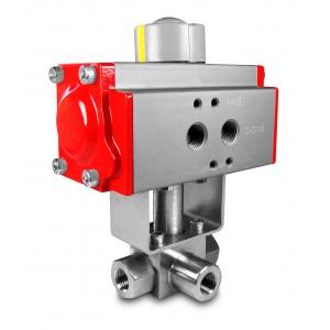 Hochdruck 3-Wege Kugelhahn 1/2 Zoll SS304 HB23 mit pneumatischem Antrieb AT63