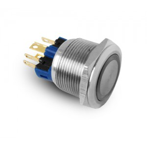 Knopf 22mm Edelstahl IP65 LED 230V oder 24V blau momentan