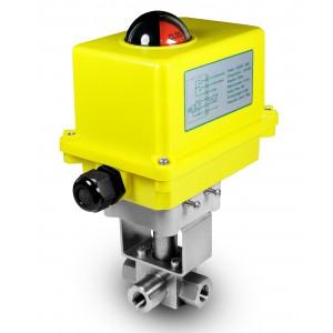Hochdruck-3-Wege-Kugelhahn 3/8 Zoll SS304 HB23 mit elektrischem Stellantrieb A250
