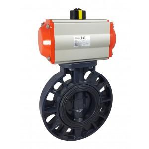 Absperrklappe, Drossel DN50 UPVC mit pneumatischem Antrieb AT63