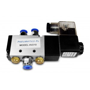 Magnetventil 5/2 4V210 1/4 Zoll für Pneumatikzylinder + Anschlüsse