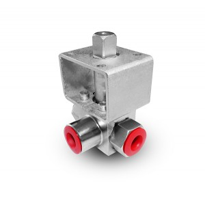 Hochdruck 3-Wege Kugelhahn 1/4 Zoll SS304 HB23 Montageplatte ISO5211